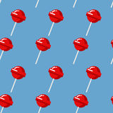 Lollipop seamless pattern. Red sweet candy texture. Strawberry s Stock Photography