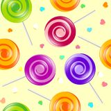 Lollipop seamless pattern. Sweets shop illustration. Lollipop and hearts. Lollipop seamless pattern. Sweets shop illustration. Lollipop and hearts on the light Royalty Free Stock Photo