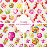 4 lollipop seamless patterns Royalty Free Stock Photography