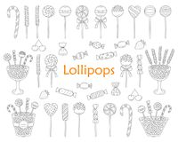 Lollipop set vector hand drawn doodle illustration. Different types of sweets, candies, lollipops, sweetmeats, glass candy jars, isolated on white background Royalty Free Stock Image