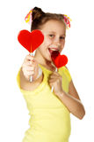 Lollipop in the shape of heart fashion smiling Stock Images