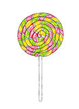 Lollipop on stick for design. Handwork sketch isolated on a white background. Vector cartoon candy illustration Royalty Free Stock Photo