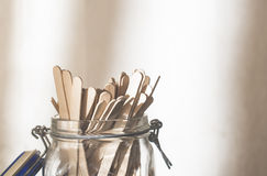 Lollipop sticks. In a jar Stock Photo