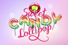 Lollipop sweet candy colorful alphabet font. With trancparency and shadows. 3D bulb isolated letters and numbers Stock Images