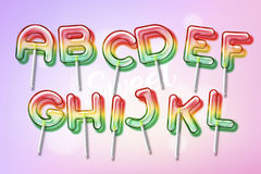 Lollipop sweet candy colorful alphabet font. With trancparency and shadows. 3D bulb isolated letters and numbers Stock Photography