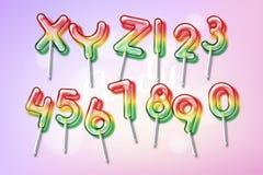 Lollipop sweet candy colorful alphabet font Stock Photo