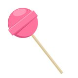 Lollipop sweet food. Pink sugar candy dessert. Stock Photos
