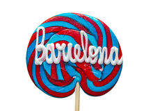 Lollipop with text Barcelona. Bright round lollipop with text Barcelona. Isolated on white. With clipping path Royalty Free Stock Images
