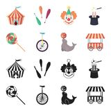 Lollipop, trained seal, snack on wheels, monocycle.Circus set collection icons in black,cartoon style vector symbol. Stock illustration Royalty Free Stock Photo