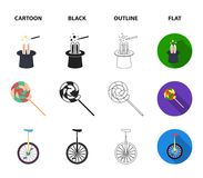 Lollipop, trained seal, snack on wheels, monocycle.Circus set collection icons in cartoon,black,outline,flat style. Vector symbol stock illustration Royalty Free Stock Photo