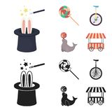 Lollipop, trained seal, snack on wheels, monocycle.Circus set collection icons in cartoon,black style vector symbol. Stock illustration Royalty Free Stock Photos