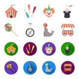 Lollipop, trained seal, snack on wheels, monocycle.Circus set collection icons in cartoon,flat style vector symbol stock. Illustration Royalty Free Stock Photography