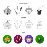 Lollipop, trained seal, snack on wheels, monocycle.Circus set collection icons in flat,outline,monochrome style vector. Symbol stock illustration Royalty Free Stock Image