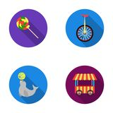 Lollipop, trained seal, snack on wheels, monocycle.Circus set collection icons in flat style vector symbol stock Stock Photo