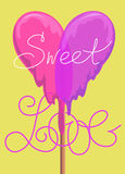 Lollipop Valentines Day Greeting card Stock Photography