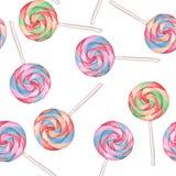 Lollipops 2 πρότυπο άνευ ραφής Στοκ Φωτογραφία