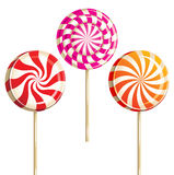 Lollipops. 3 glossy lollipops over white background Stock Photography