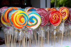 Lollipops. Delicious wrapped in cellophane royalty free stock photo