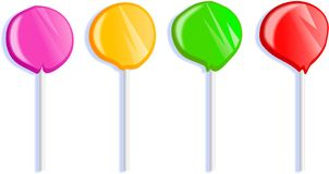 Lollipops. Colourful candy lollipops isolated on white Stock Photo