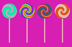 Lollipops. Colorful Lollipops  in a Row Stock Photos