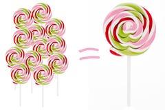 Lollipops - alguns e o grande Fotografia de Stock Royalty Free