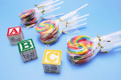 Lollipops with Alphabet Blocks Stock Image