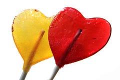 Lollipops as hearts Stock Photos