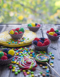 Lollipops and assorted jellies. Sweet lollipops and colored jellies Stock Images