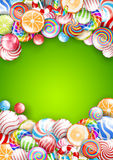 Lollipops background. Lollipops, candys and sweets   background. Vector illustration, a4-a5 standart proportion Stock Images