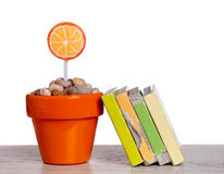 Lollipops and books Royalty Free Stock Photo