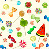 Lollipops and candies seamless pattern in cartoon style. Vector illustration. Royalty Free Stock Image