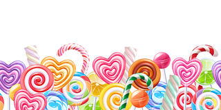 Free Lollipops Candy Border Background. Hard Candies On Stick. Royalty Free Stock Photography - 85342837