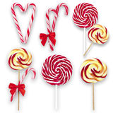 Lollipops and candy canes, collage Royalty Free Stock Image