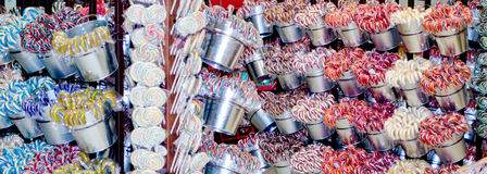 Lollipops and candy canes for sale Stock Photo