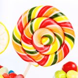 Lollipops, candy and chewing gum in the jar Stock Photo