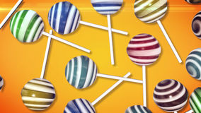 Lollipops. Candy on stick on orange background. 3d rendering Stock Photos
