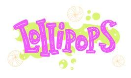 Lollipops. Cartoon cute colored inscription with elements. stock illustration