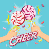 2 Lollipops for cheer moment.Celebrate time with lollipops. Royalty Free Stock Photography