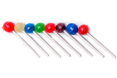 Lollipops Colorful Diagonal white background Stock Photos