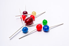Lollipops Colorful Random white background Royalty Free Stock Photography