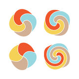 Lollipops colorful vector logo set. Candy simple design top view icons collection. Royalty Free Stock Image
