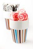 Lollipops cor-de-rosa e pretos Fotografia de Stock Royalty Free