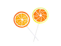 Lollipops da laranja e do limão isolados Fotos de Stock