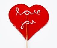 Lollipops del corazón Imagenes de archivo