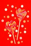 Lollipops in the form of heart. Candies royalty free stock photo