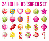 Lollipops icons set. 24 bright lollipops icons over white background - super set of lollipops Stock Images