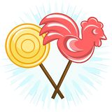 Lollipops 2 pieces, in the shape of a cockerel and round, vector. Two candies on sticks: yellow round and red cockerel, vector vector illustration