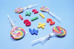 Lollipops with Plastic Numbers stock photo