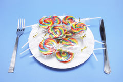 Lollipops on Plate Stock Photography