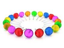 Lollipops set. On a white background. 3D illustration Stock Images